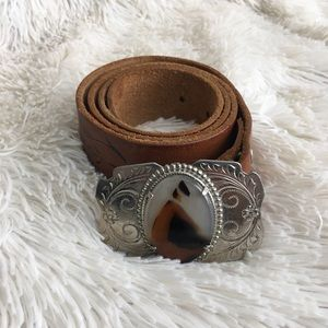 Express Tooled Leather Western Buckle Belt